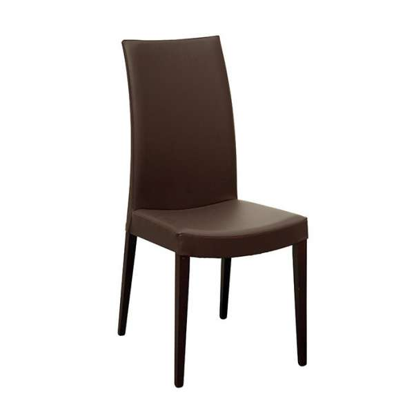 Chaise de salle à manger contemporaine en bois et vinyle - Cometa