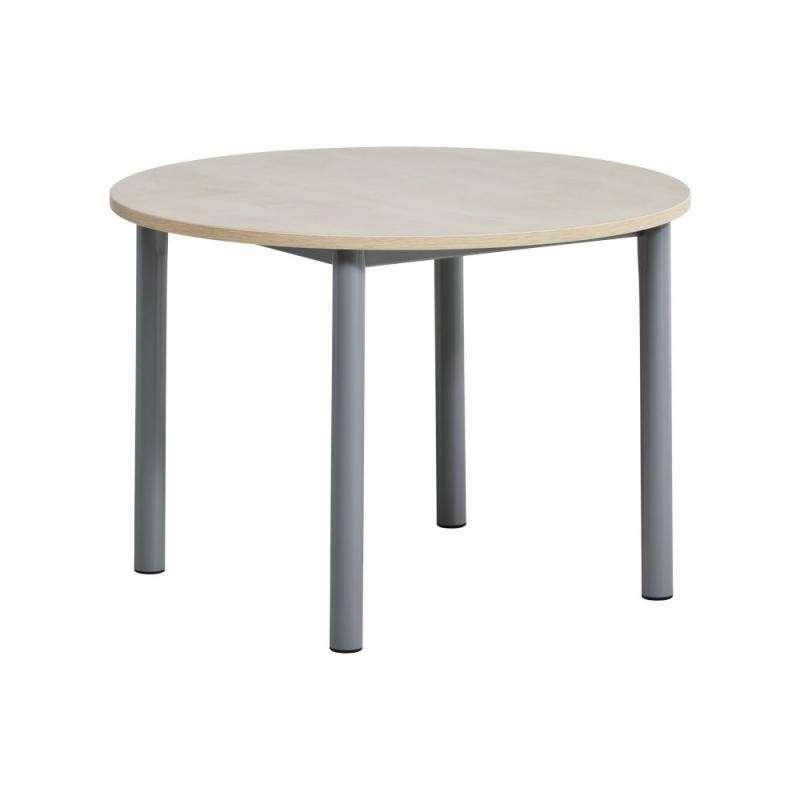 Table de cuisine ronde en stratifi lustra 4 pieds - Table de cuisine ronde blanche ...
