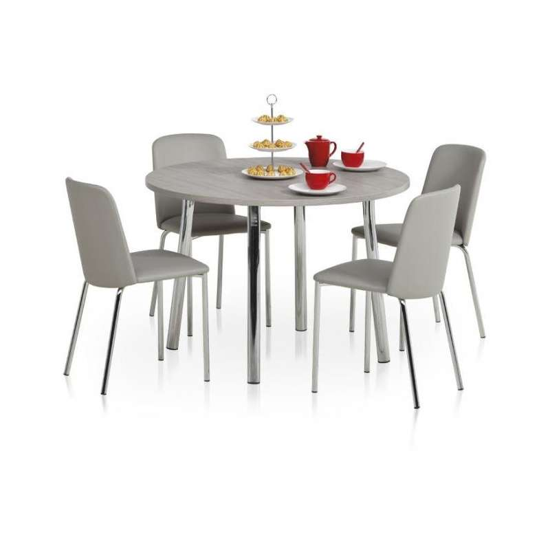 Table de cuisine ronde en stratifi elli 4 pieds for Table de cuisine ronde