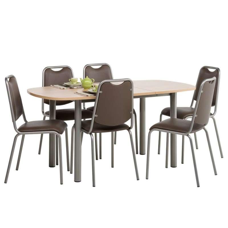 Table de cuisine lustra en stratifi avec allonge 4 - Table de cuisine 6 personnes ...