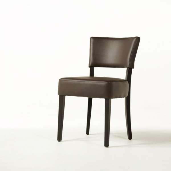 Chaise contemporaine en vinyl marron et bois - Steffi - 10