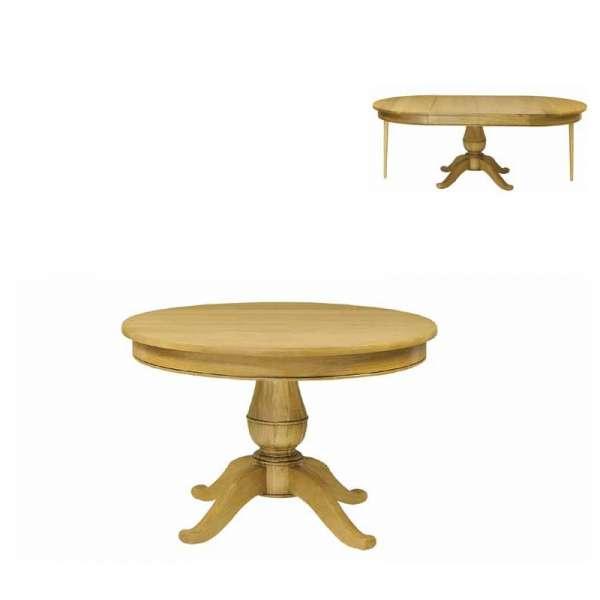 Table rustique en bois massif extensible pied central for Table en bois extensible