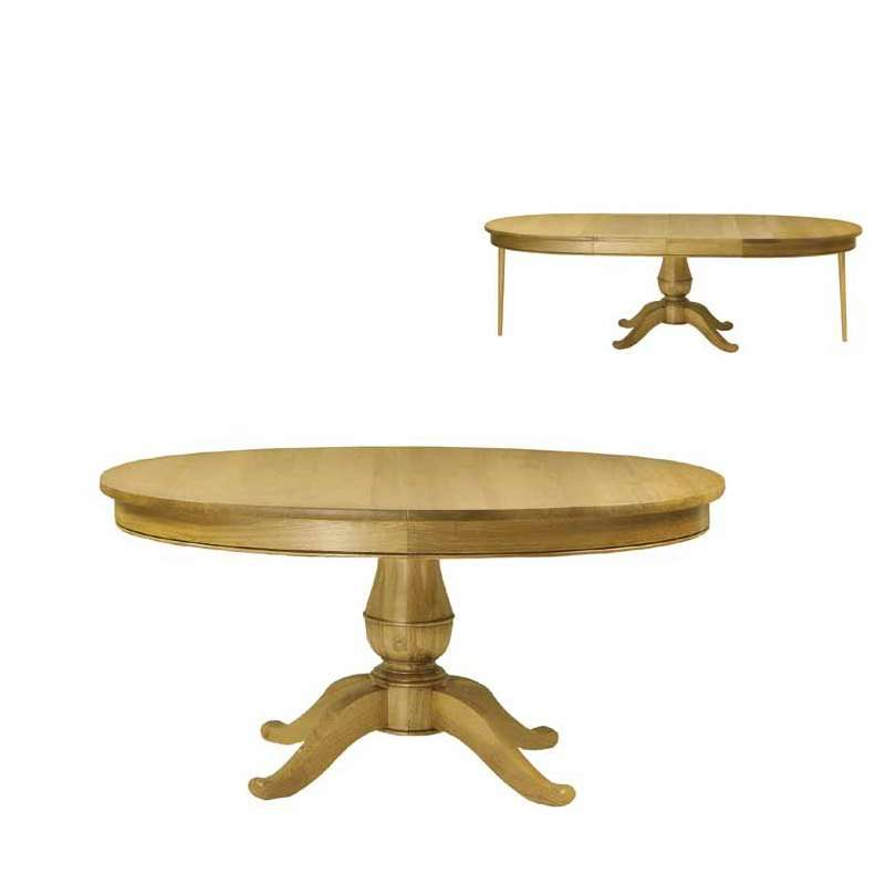 Table rustique en bois massif extensibleà pied central Quadripode 4 Pieds tables, chaises  # Table Rustique Bois Massif