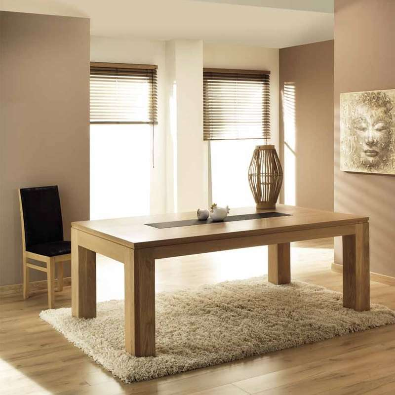 Table de salle manger en ch ne massif extensible for Table salle a manger noyer massif