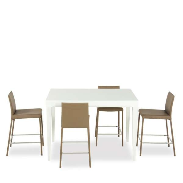 table en verre extensible hauteur 90 cm coloris blanc. Black Bedroom Furniture Sets. Home Design Ideas