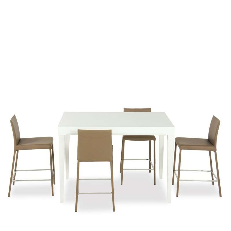 table en verre extensible hauteur 90 cm coloris blanc fly 4 pieds tables chaises et tabourets. Black Bedroom Furniture Sets. Home Design Ideas