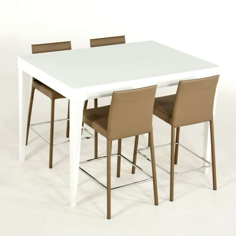 Table en verre extensible hauteur 90 cm coloris blanc for Table blanche extensible 12 personnes