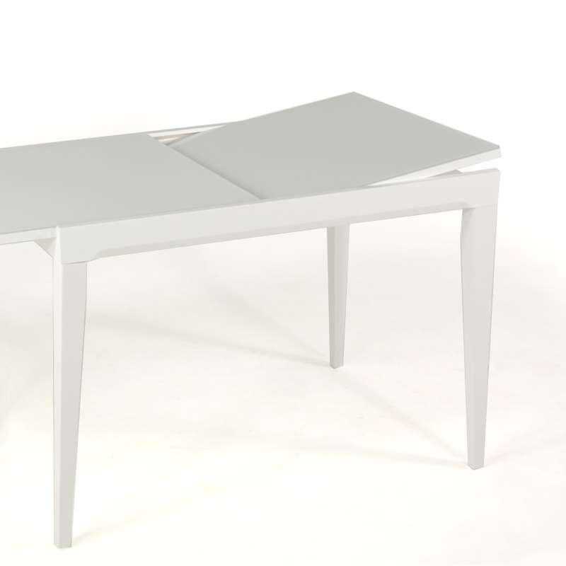 Table en verre extensible hauteur 90 cm coloris blanc for Table verre blanc extensible
