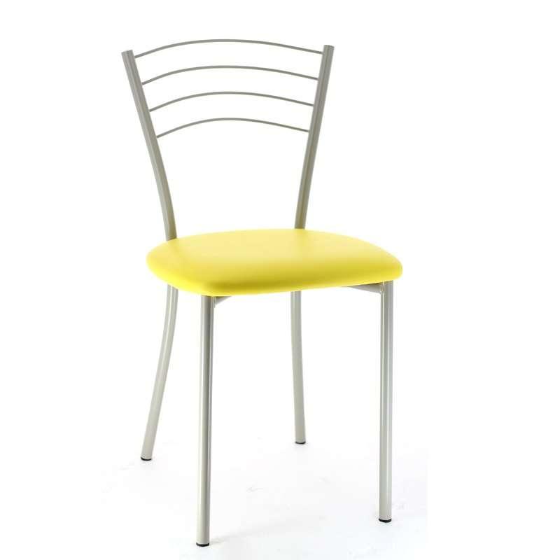Salon Blanc Bois Noir : Chaise de cuisine en métal Roma  4 Pieds  tables, chaises et