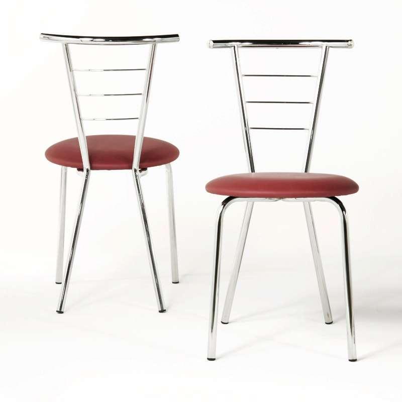 Chaise de cuisine en m tal val rie 4 pieds tables - Table de cuisine avec chaises ...