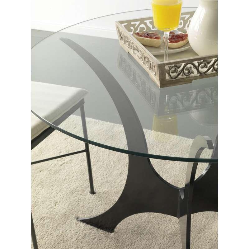 table ronde en verre et fer plat. Black Bedroom Furniture Sets. Home Design Ideas