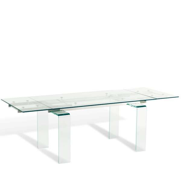 Table design rectangulaire extensible en verre tania 4 for Table 4 pieds