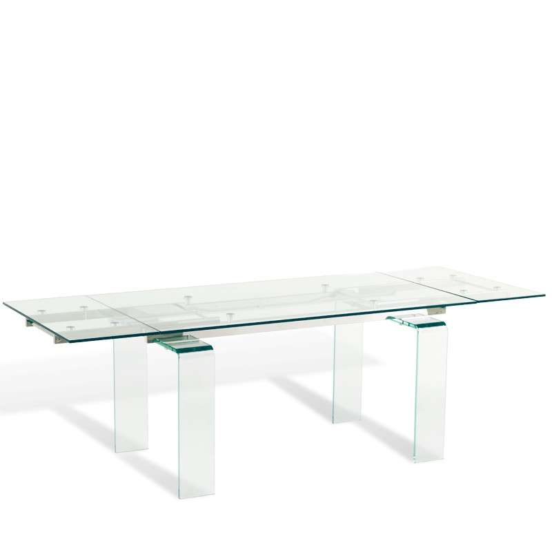 Table design rectangulaire extensible en verre tania 4 pieds tables chai - Table rectangulaire design ...