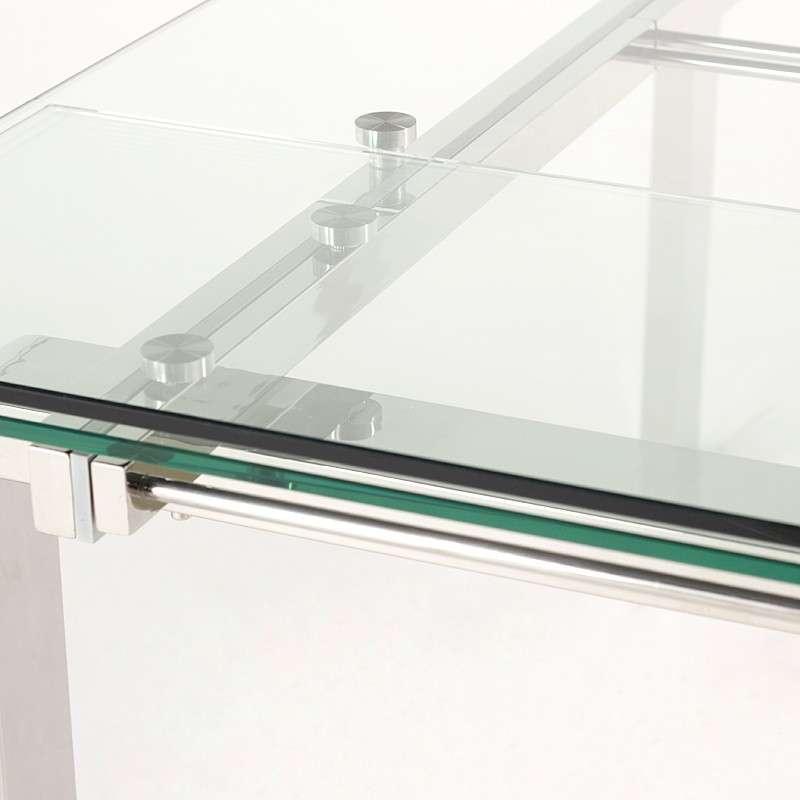 Table design rectangulaire en verre tania 4 pieds tables chaises et tabourets - Table rectangulaire en verre avec rallonge ...
