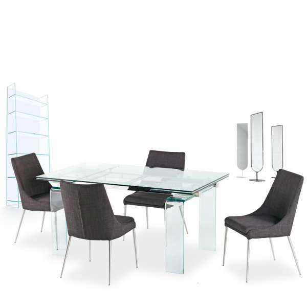 Table design rectangulaire en verre Tania - 5