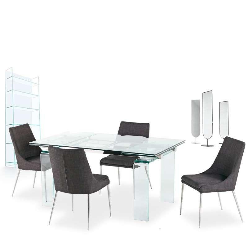 Table design rectangulaire extensible en verre tania 4 pieds tables chaises et tabourets - Table rectangulaire en verre avec rallonge ...