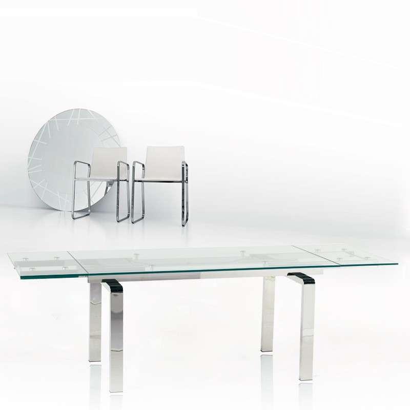 Table design en verre extensible tanina 4 pieds tables for Table design extensible