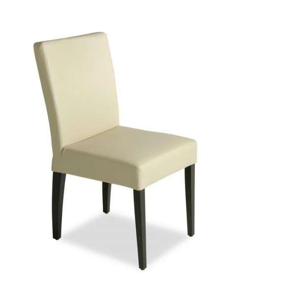 Chaise contemporaine en vinyle et bois – Matias
