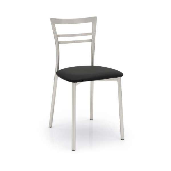 Chaise de cuisine rembourrée noire - Go - 1