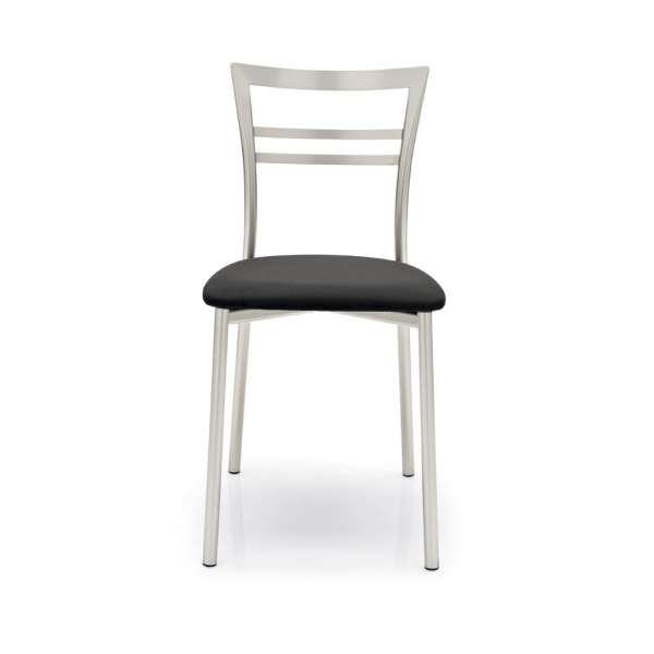 Chaise de cuisine rembourrée noire en métal - Go - 2