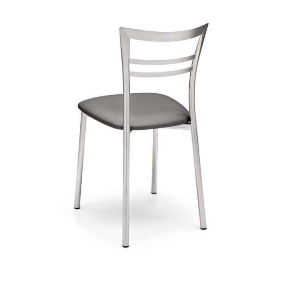 Chaise de cuisine rembourrée grise en métal - Go - 3