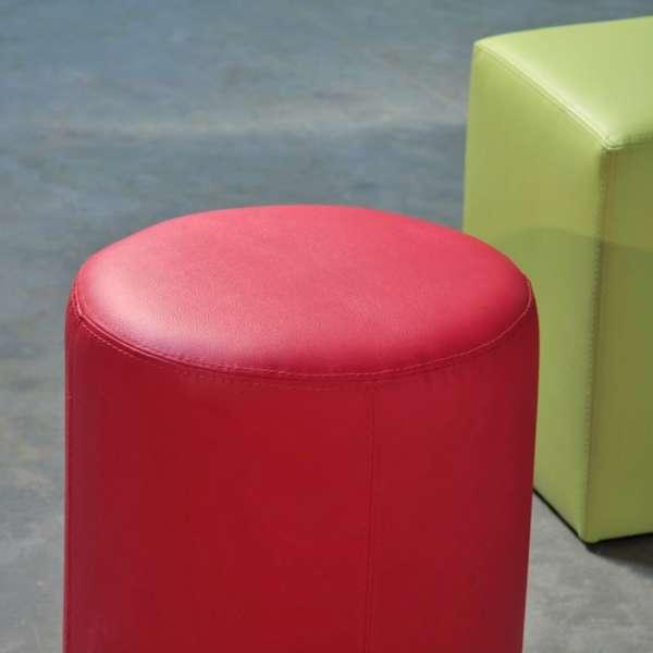 Pouf rond rouge en vinyl – Rondo - 2