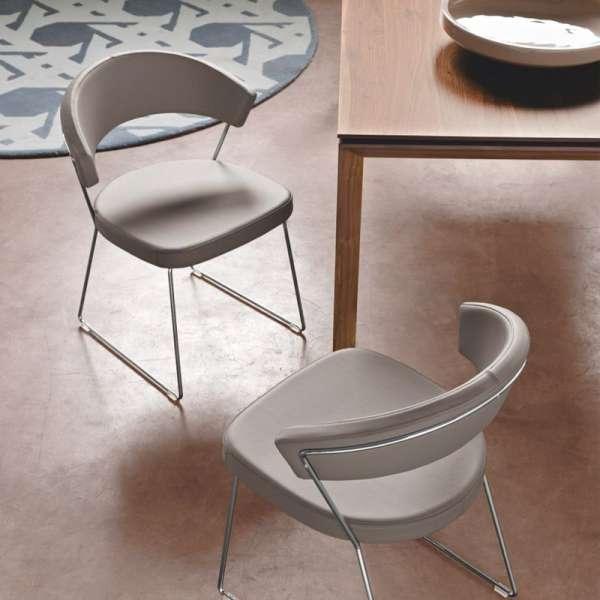 Chaise design en métal & cuir New-York Calligaris® - 3