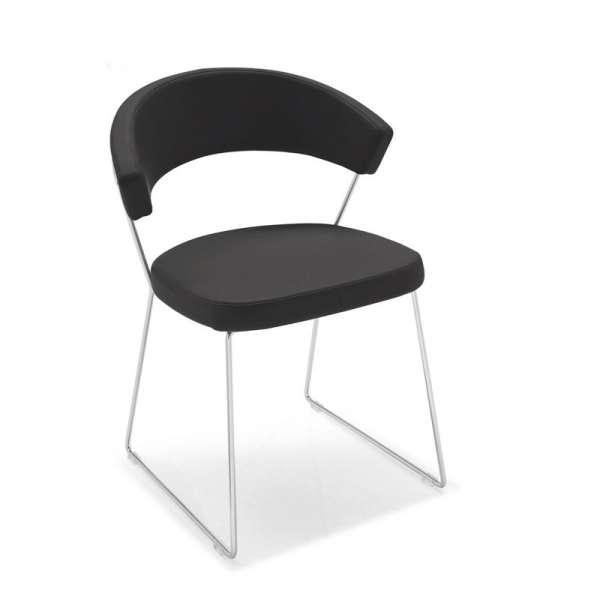Chaise design en cuir et m tal new york connubia 4 for Chaises en cuir design