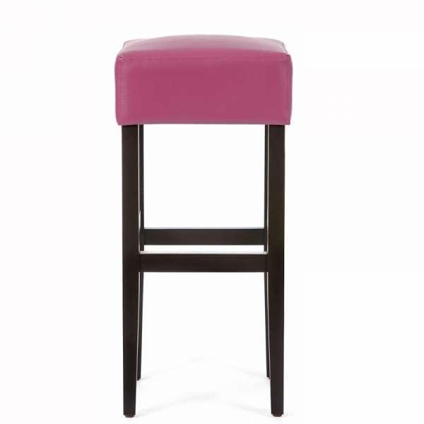 Tabouret de bar rose sans dossier en vinyl et bois - Max - 2