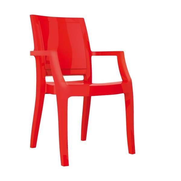 Fauteuil moderne en polycarbonate rouge - Arthur - 13