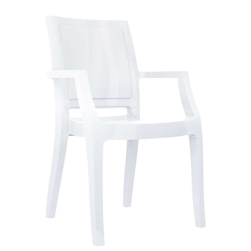 Fauteuil moderne en polycarbonate arthur 4 pieds tables chaises et tab - Fauteuil moderne blanc ...
