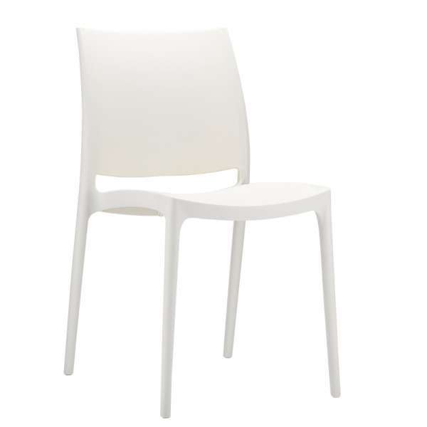 Chaise design blanche empilable - Maya - 11