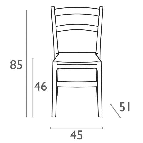 Dimension chaise de jardin en polypropylène Tiffany - 18