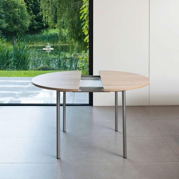 Table de cuisine ronde en stratifié avec rallonge - Basic 3 - 3