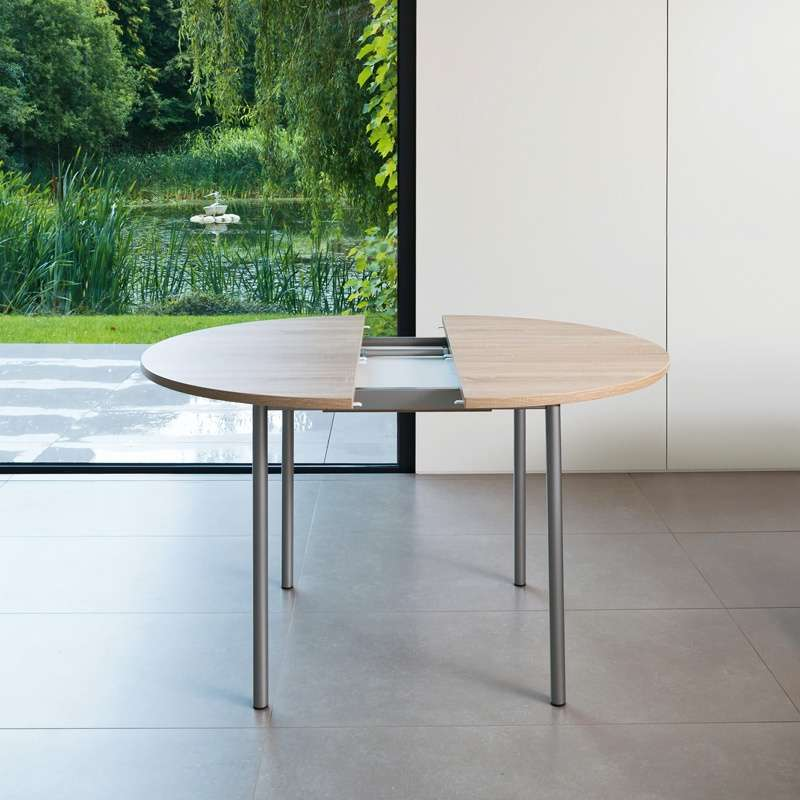 Table de cuisine ronde en stratifi avec rallonge basic for Table de repas ronde avec rallonge