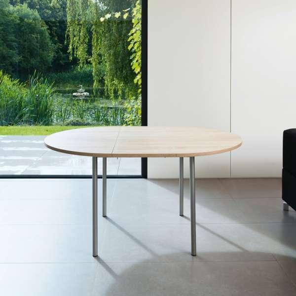 Table de cuisine ronde en stratifié avec rallonge - Basic 7 - 7