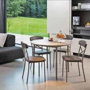 Table de cuisine ronde en stratifié Basic avec rallonges