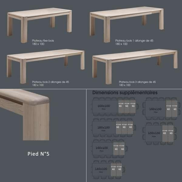 Table de salle à manger contemporaine en Chêne massif - Carrée ou Rectangle - 5