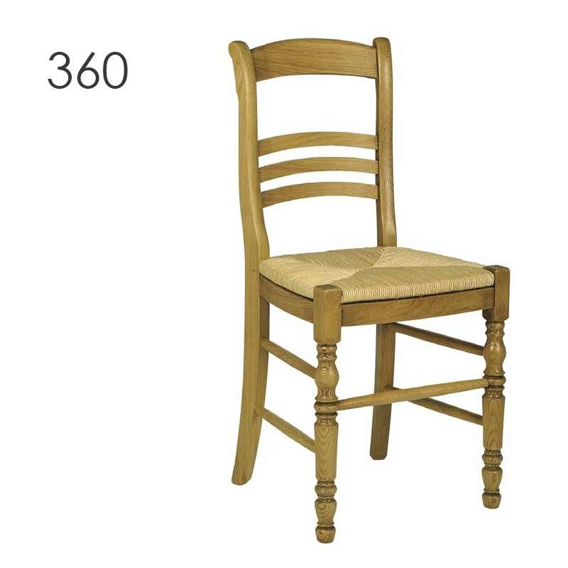 Chaise de salle manger en bois rustique en ch ne 360 for Chaise salle a manger bois