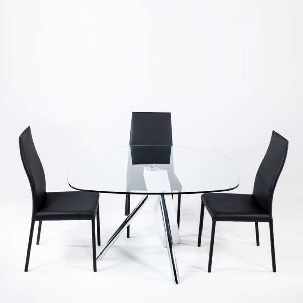 Table en verre design carré Tundra - 120 cm x 120 cm