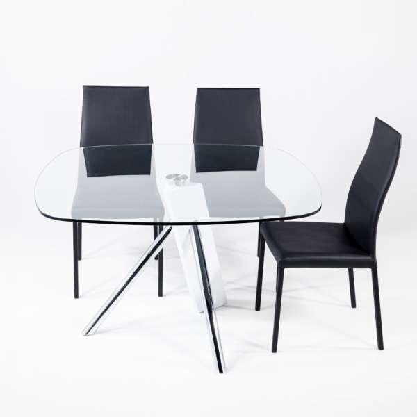 Table en verre design carré Tundra - 120 cm x 120 cm - 2