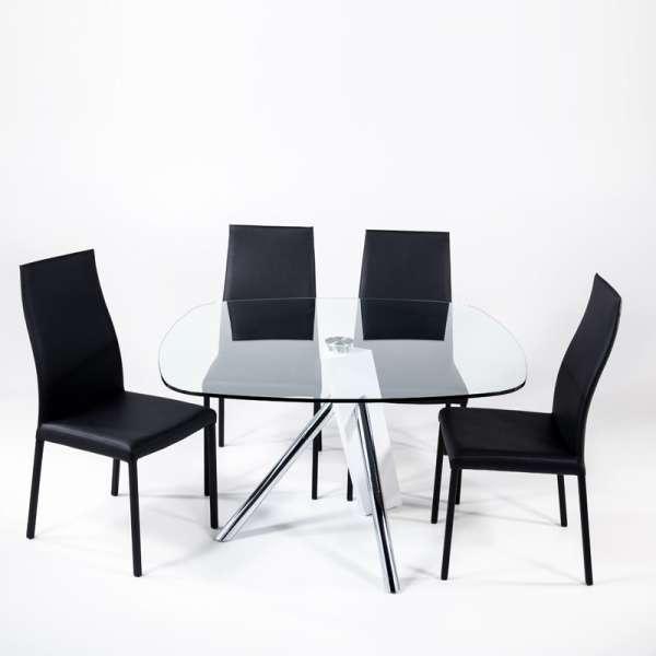 Table en verre design carré Tundra - 120 cm x 120 cm - 3