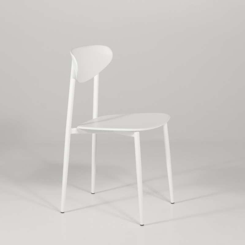 Chaise de cuisine en polypropyl ne blanche 4 pieds tables chaises et tabourets - Chaise blanche de cuisine ...