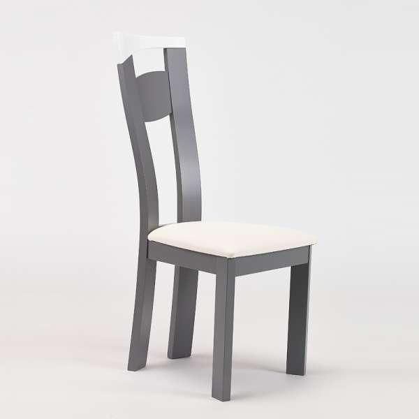 Chaise de salle à manger contemporaine en vinyle et hêtre massif - Calypso