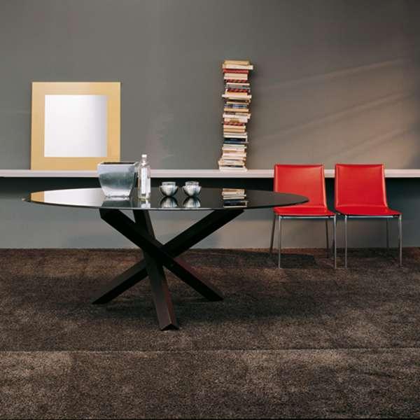 Table de salle à manger ovale design en verre - Aikido Sovet®