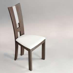 Chaise de salle à manger contemporaine en vinyle et bois massif - Floriane