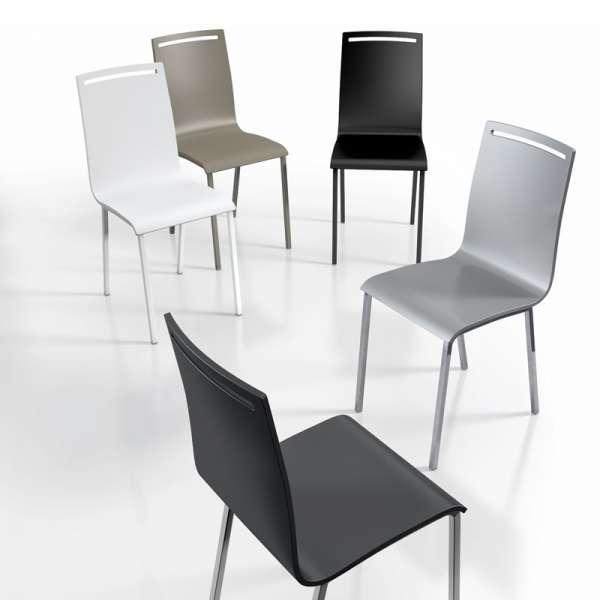 Chaise moderne en m tal et bois laqu nera 4 pieds tables chaises et t - Chaise en bois moderne ...