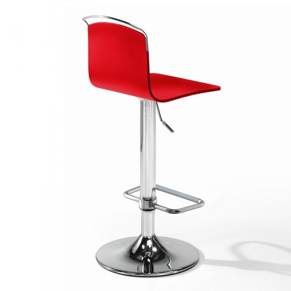 Tabouret design réglable métal chromé et bois rouge - Win 3 - 2