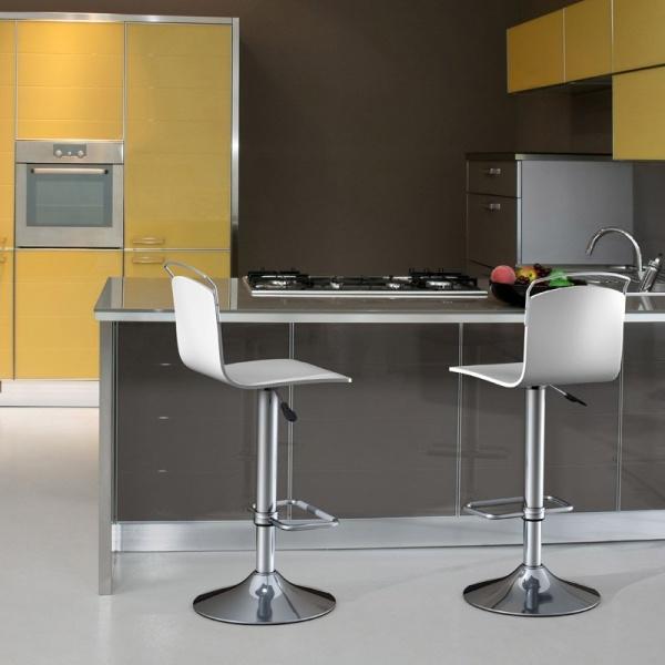 Tabouret design réglable et pivotant métal chromé et bois  - Win