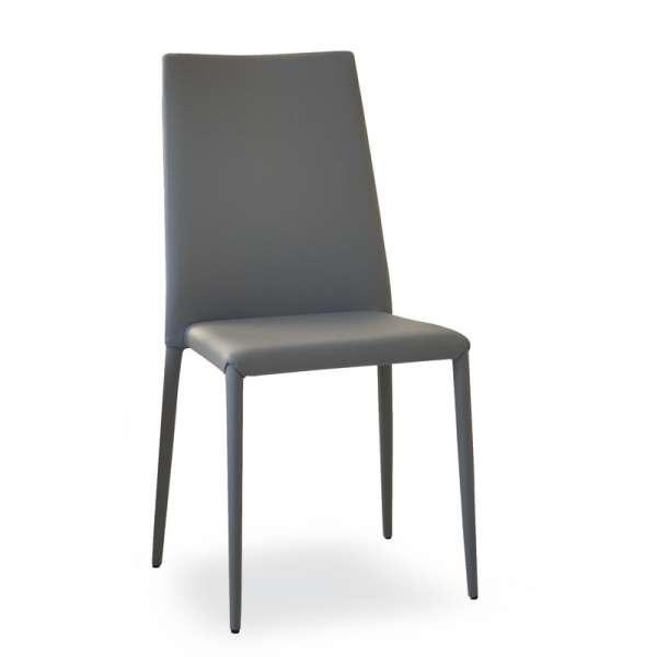 Chaise contemporaine en cuir gris - Bea - 7